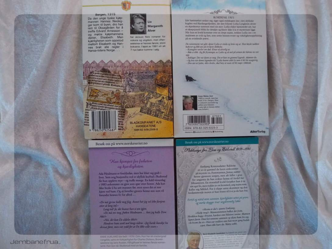 Jernbanefrua har fire serieromaner på vent. Baksiden av bøkene.