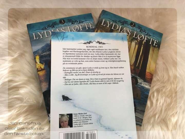 Jernbanefrua deler baksiden av første boken i serien Lydias Løfte. En triologi av Jenny Micko.