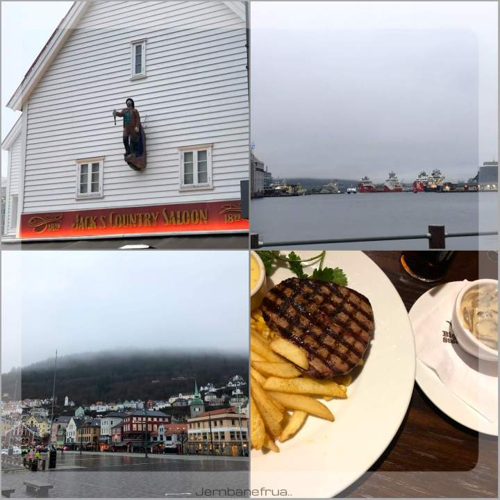 Jernbanefrua på sightseeing i Bergen
